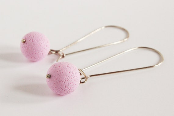Light pink earrings - sterling silver and polymer clay - pastel - textured sphere - statement jewelry - minimalist - color block jewellery