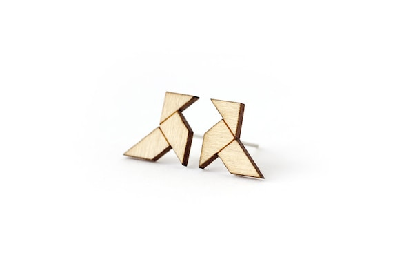 Origami bird studs - tiny earrings - mini jewelry - graphic jewellery - lasercut maple wood - hypoallergenic surgical steel posts