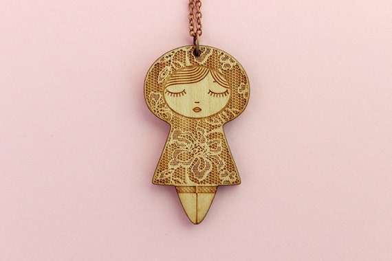 Wooden doll pendant with lace pattern -  lasercut wood necklace - romantic jewelry - matriochka jewellery - kokeshi - cute accessory