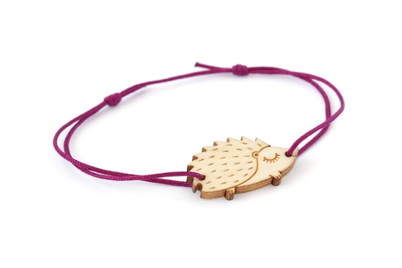 Hedgehog bracelet made of lasercut maple wood - cute porcupine bangle - jewelry for forest animal lovers - adjustable length osfa