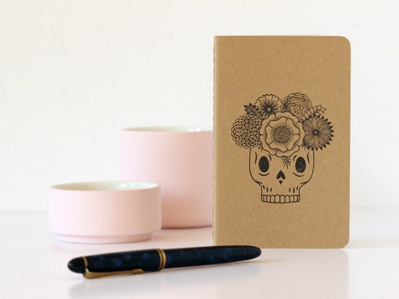 Vanitas notebook - A6 - calavera Moleskine sketchbook - catrina with flowers - sugar skull stationery - handstamped - vector illustration