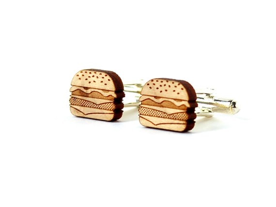 Burger cufflinks - cheeseburger cuffs - hamburger cuff links - junk food - lasercut maple wood - original wedding accessory - for the groom