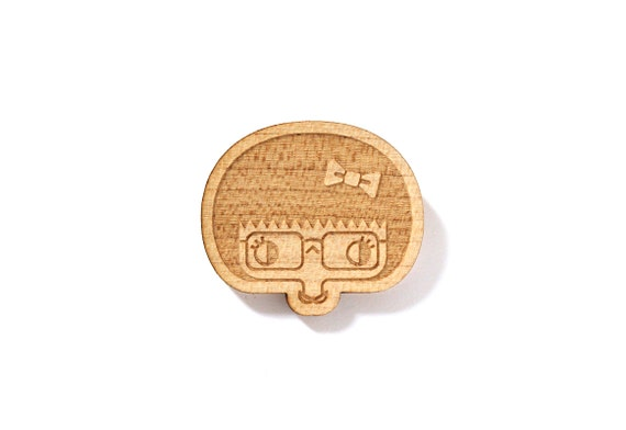 Geekette brooch - Esther pin - girl with glasses and bow brooch - portrait - illustrated jewellery - lasercut maple wood - geek jewelry