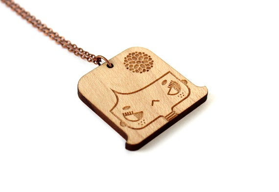 Lasercut wood necklace with grumpy girl Lily - cute wooden pendant - boho girl with flower - nickel free jewelry