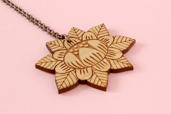 Wooden flower necklace - lasercut wood pendant - stylized floral - vegetal jewelry - folk jewellery - wood accessory