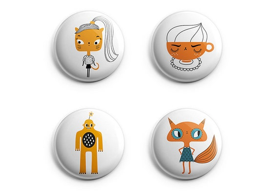 Collection of four buttons / pins / badges 38 mm - Cappuccino - Cat - Fox - Monster