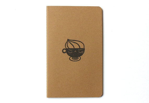 Moleskine notebook Angry Cappuccino - Handstamped with cute coffee character illustration - A5 / medium - blank pages