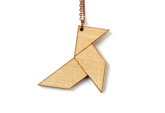 Origami bird necklace - graphic paper bird pendant - lasercut maple wood - origami jewelry - animal jewellery - statement necklace