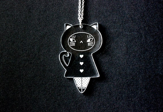 Cat doll necklace - cat pendant - kitten jewelry - kawaii kokeshi - graphic matriochka - cute jewellery - lasercut clear acrylic -