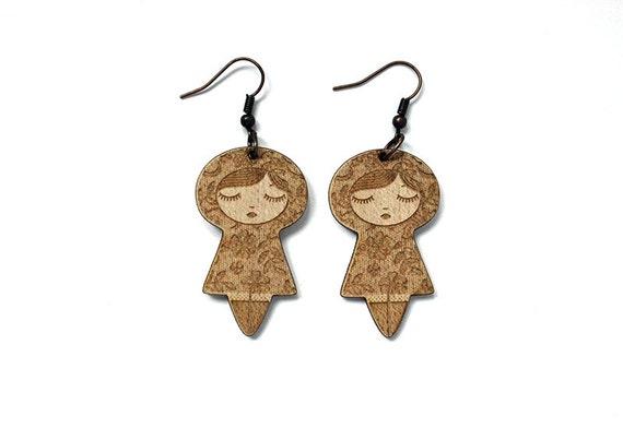 Dolls earrings with lace pattern - graphic cute doll - kokeshi jewelry - matriochka jewellery - lasercut maple wood