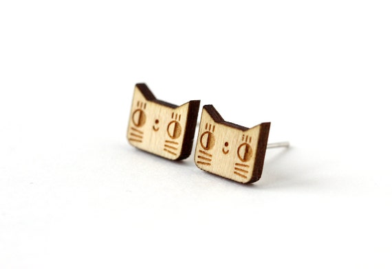 Cat studs - cute kitten earrings - lasercut wood - mini animal jewelry - tiny graphic jewellery - hypoallergenic surgical steel posts