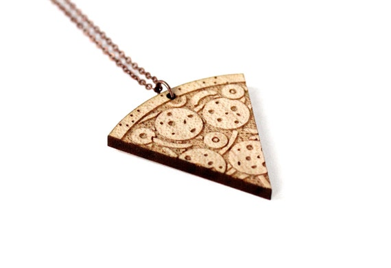 Pizza necklace - kitsch graphic pendant - lasercut maple wood - junk food jewelry - Italy - food jewellery