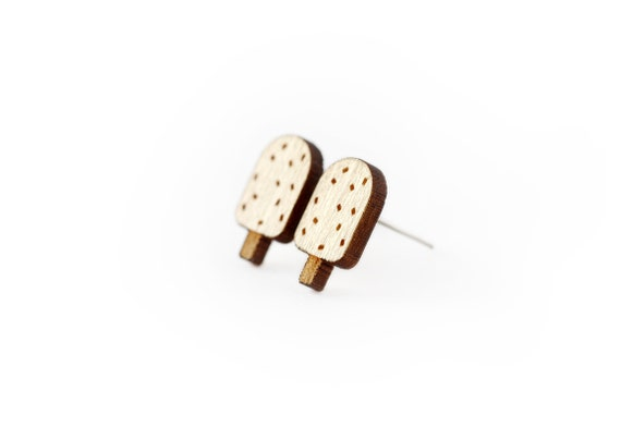 Ice cream studs - tiny posts - chocolate earrings - mini jewelry - graphic jewellery - lasercut maple wood - hypoallergenic surgical steel