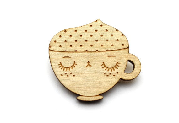 Cappuccino brooch - coffee cup pin - graphic jewelry - kawaii jewellery - cute accessory - lasercut maple wood