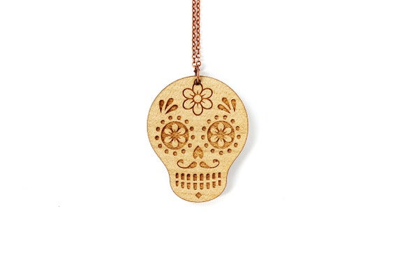 Calavera necklace - mexican sugar skull pendant - dia de los muertos jewelry - graphic death jewellery - ethnic - lasercut maple wood