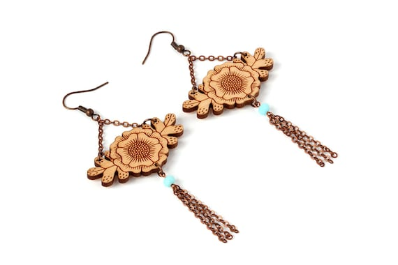 Floral earrings - statement dangle earrings - flower and leaves - foliage - fall autumn jewelry - lasercut wood - Botanica