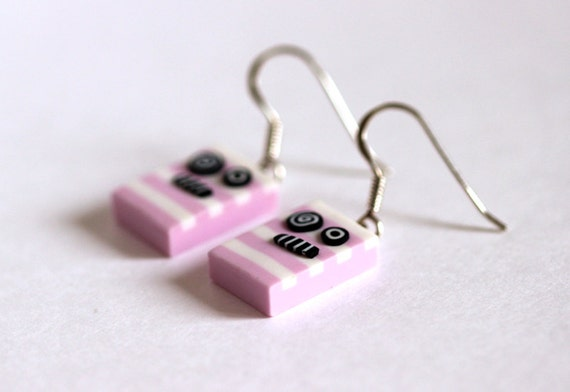 Little monsters earrings - pale pink and white stripes - sterling silver findings - polymer clay - OOAK