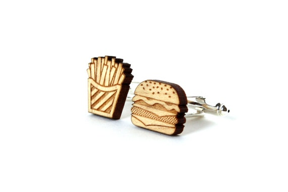 Burger and fries cufflinks - mismatched cheeseburger and chips cuffs - lasercut wood - funny wedding accessory for the groom - men jewelry