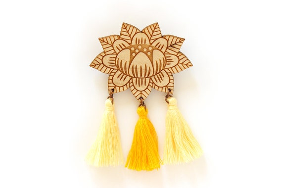 Flower brooch with 3 tassels - yellow - wooden floral pin - stylized vegetal jewelry - folk jewellery - lasercut wood accessory
