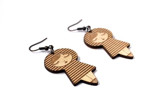 Doll earrings with stripes - kokeshi jewelry - matriochka jewellery - lasercut maple wood - wooden jewelry - cute - graphic - kawaii