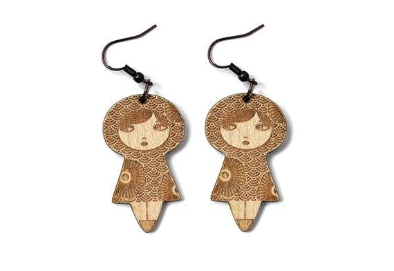 Japanese doll earrings with seikaiha pattern and flowers - lasercut maple wood - matriochka jewelry - kokeshi jewellery - cute earrings