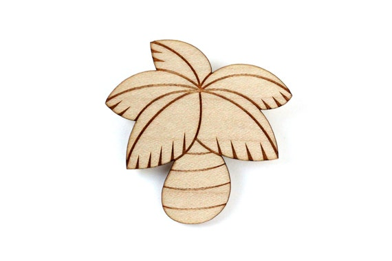 Palmtree brooch - palm tree pin - coconut jewelry - lasercut maple wood - California - Caribbean - Riviera - summer holidays - exotic beach