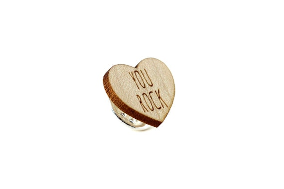 "Heart pin with message ""You rock"" - graphic brooch - romantic accessory - not another enamel pin - graphic accessory - lasercut maple wood"