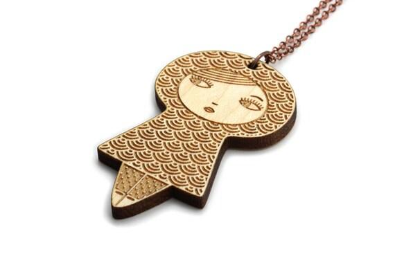 Wooden doll necklace with traditional Japanese pattern seikaiha - matriochka pendant - kokeshi jewelry - lasercut wood - graphic