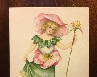 Vintage Sweet Briar Rose Valentine Flower Fairy Postcard signed M. Dulk