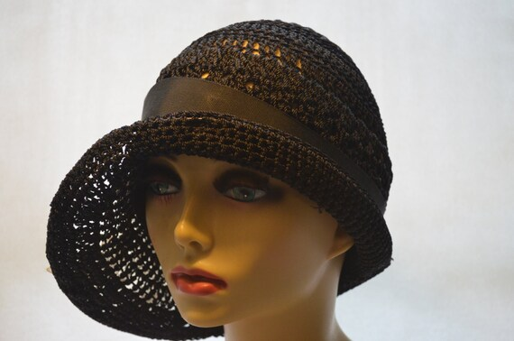 Gatsby Style Cloche 1920s Black Flapper Crochet Hat with  9b1905de4b6d