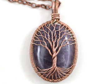 Amethyst Necklace Pendant for men or women Copper Tree Of Life Necklace Pendant Jewelry February Birthstone necklace Handmade Jewelry