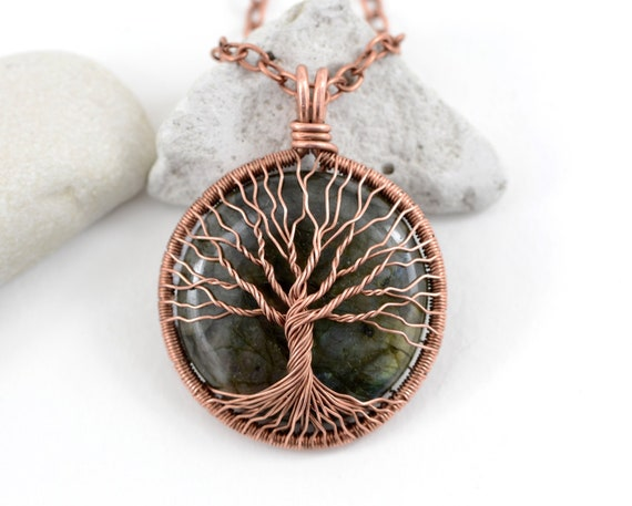 Tree of Life Pendant LA-6421 Thebestjewellery Labradorite Pendant Designer Handmade Pendant Copper Wire Wrapped Pendant