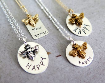 """Bee Necklace Inspirational  """"Bee Happy"""" Honey Bee Gift for Her Personalized Necklace Gift For Mom Birthday Gift Honeycomb Necklace Queen Bee"""