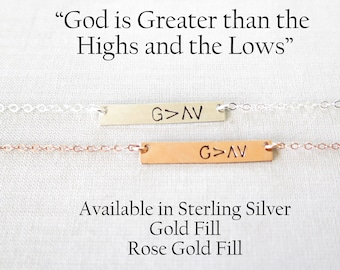 God Is Greater Than The Highs And The Lows, Rose Gold Bar Necklace, Personalized Bar Necklace, Christian Jewelry, Gift Valentine Daughter