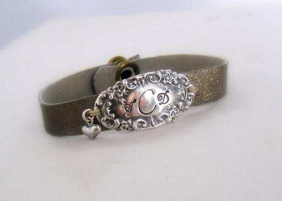 1b13ff17a94e8 Monogram Silver Wrap Bracelet Victorian Leather Vintage Bracelet Antique  Personalized Initials Hand Stamped Sterling, Elegant, B3
