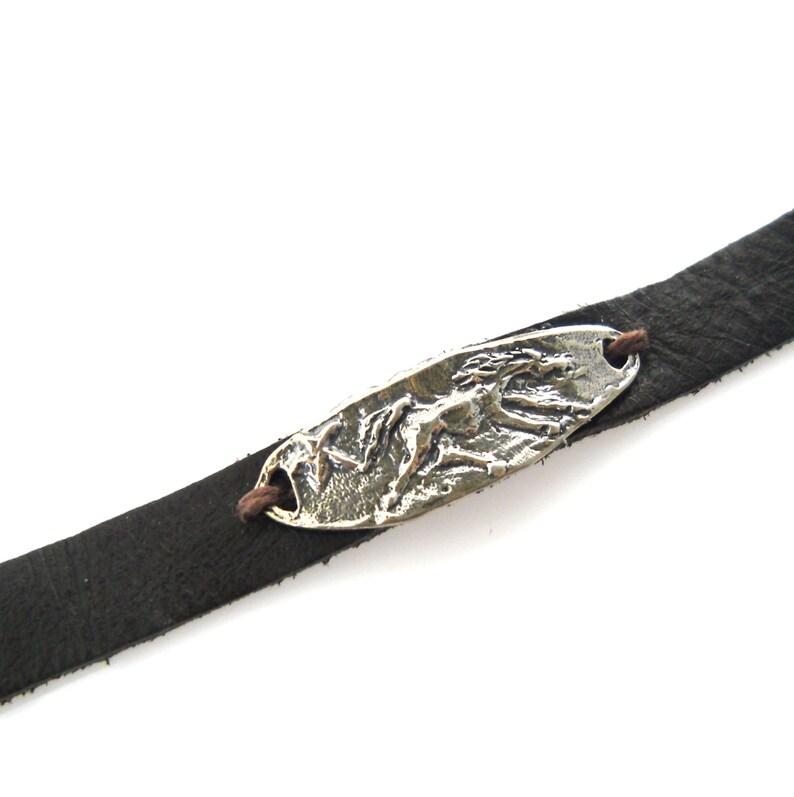 a16dc568d79b2 Horse Jewelry Artisan Bracelet Silver Suede Wild Horse Silver Wrap Bracelet  Horse Lover Sterling Leather Running Horse Bracelet B15
