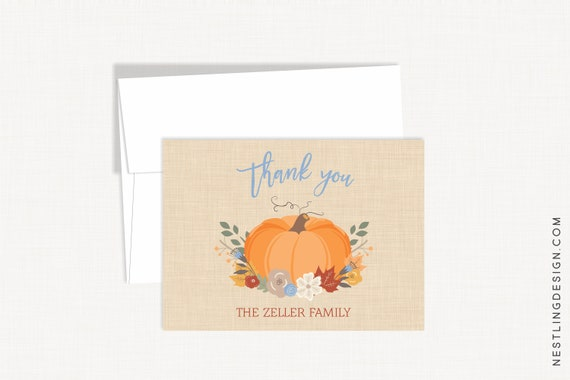 Fall Thank You Cards Pumpkin Thank You Cards Personalized Etsy