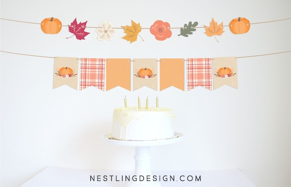 photograph about Fall Banner Printable referred to as Tumble Banner Slide Garland Drop Leaf Garland Pumpkin