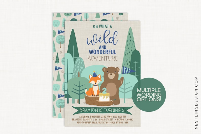 Woodland Bear Birthday Invitation