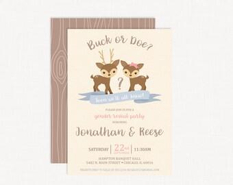 Buck or Doe Gender Reveal Invitations | Deer Gender Reveal | Woodland Gender Reveal Invitation | Hunting Gender Reveal