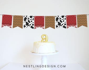 Wild West Party Garland | Cowboy Party Decorations | Cowboy Banner | Cowgirl Banner | Western Birthday Party | Barnyard Party | Cowboy Party