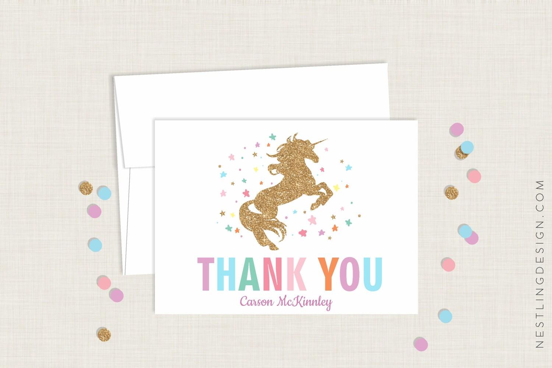 Unicornio gracias tarjetas personalizada en blanco le agradece | Etsy