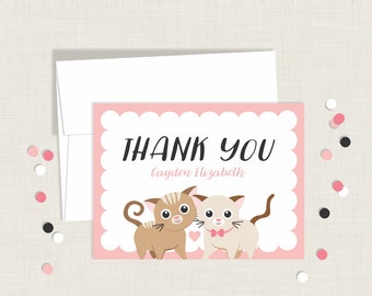 Kitten Thank You Cards / Kitty Cat Thank You Cards / Cat / Personalized / Children's Thank You Card / Kid's Thank You Card /  Stationery