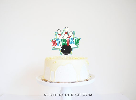 Super Bowling Cake Topper Bowling Birthday Party Decorations Etsy Personalised Birthday Cards Veneteletsinfo