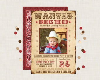 WANTED POSTER INVITATION | Western Party | Cowboy Invitation | Barnyard Party | Wild West Party | Cowboy Party | Cowgirl Invitation