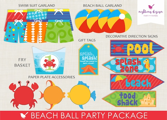 beach ball party package beach party pool party sea etsy