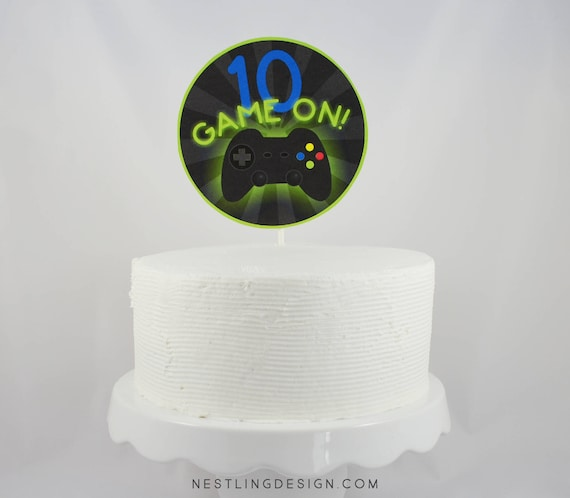 Gaming Party Cake Topper Printable Cake Topper Centerpiece
