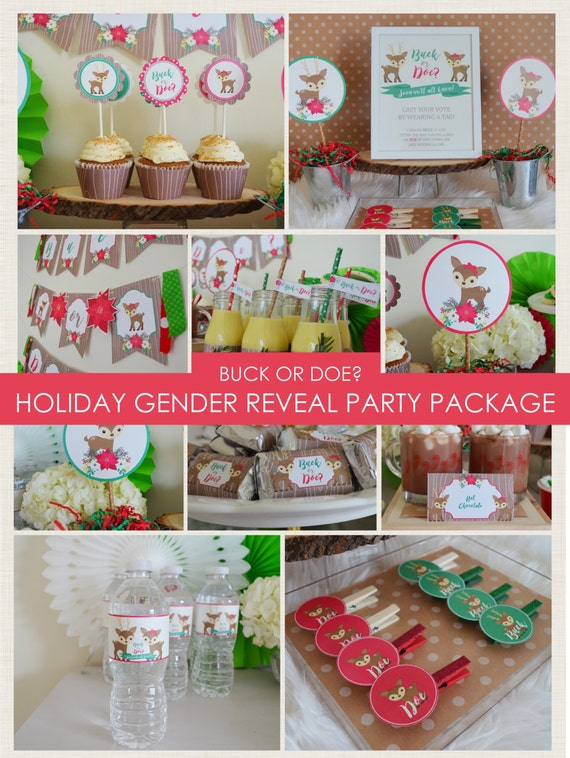 Christmas Gender Reveal Theme.Holiday Gender Reveal Party Package Buck Or Doe