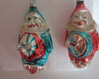 Clowns Clown Ornaments Vtg Christmas D\u00e9cor Creepy Ornaments Old Ornaments Plastic Ornament Clown Christmas Small Ornaments
