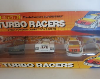5 Turbo Racers  Matchbox Cars **** 1985 Unopened Package******  Never Used*** Mint Matchbox Cars**  Matchbox Car Set